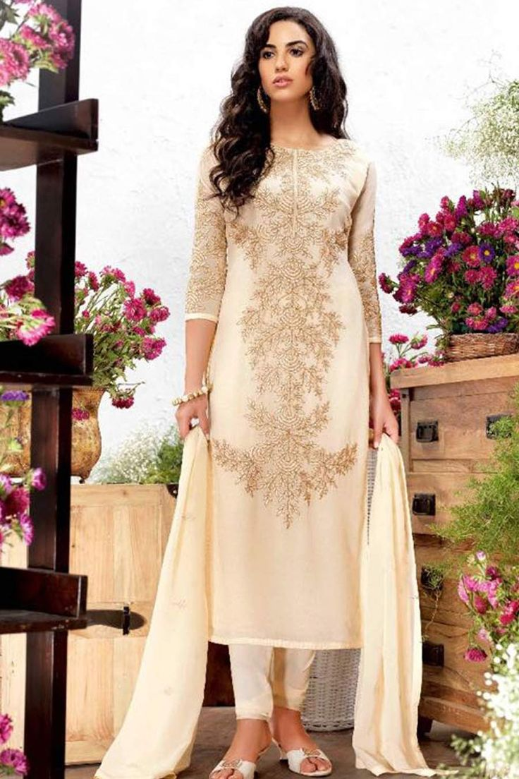 Cream Georgette Semi Stitch Churidar Suit