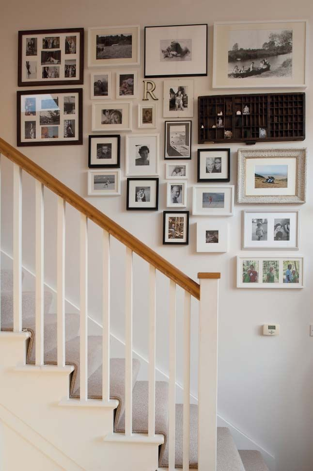 pretty stair display. I like that they added the printer's tray with the photos.