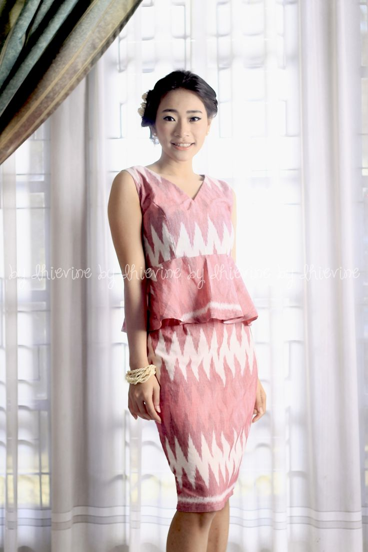 Tenun Rang Rang | Peplum top | Tight skirt| Pencil Skirt | Galuh Ayu Pink Set ( Top and Skirt ) | DhieVine | Redefine You