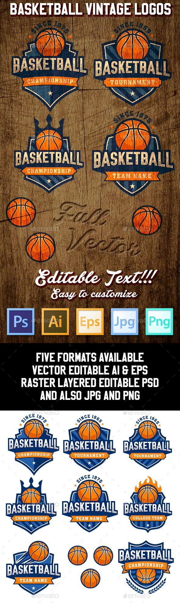 Basketball Logo Templates PSD, Transparent PNG, Vector EPS, AI Illustrator. Download here: http://graphicriver.net/item/basketball-logo-templates/16349259?ref=ksioks
