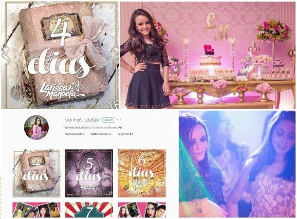 CONTAGEM REGRESSIVA PARA FESTA DE 15 ANOS DE LARISSA MANOELA! Os 15 anos dos sonhos de uma estrela teen estão chegando! Uma festa que promete ser um conto de fadas da vida real, compartilhada em cada detalhe nas redes sociais da atriz Larissa Manoela. Faltam só 4 dias!