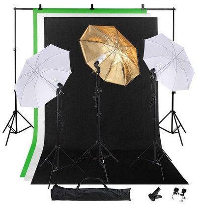 "Studio Photography Lighting Kit w/ 10' Background Stand 33"" Umbrella 5x10' Backdrop 3x45W Bulbs"