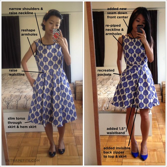 Wow, what a difference!! All petite women MUST have a good tailor on hand!!  Complex Alterations: Kate Spade dress tailored into separates