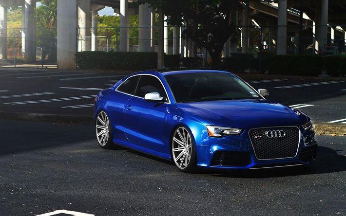 Herunterladen hintergrundbild audi rs5 coupe, parken, tuning, deutsche autos, blau rs5, audi