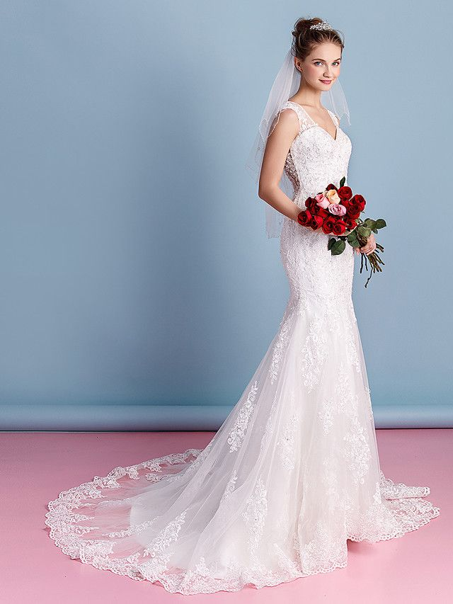 $250! Lanting Bride® Trumpet / Mermaid Wedding Dress Court Train Sweetheart Tulle with Appliques - USD $249.99
