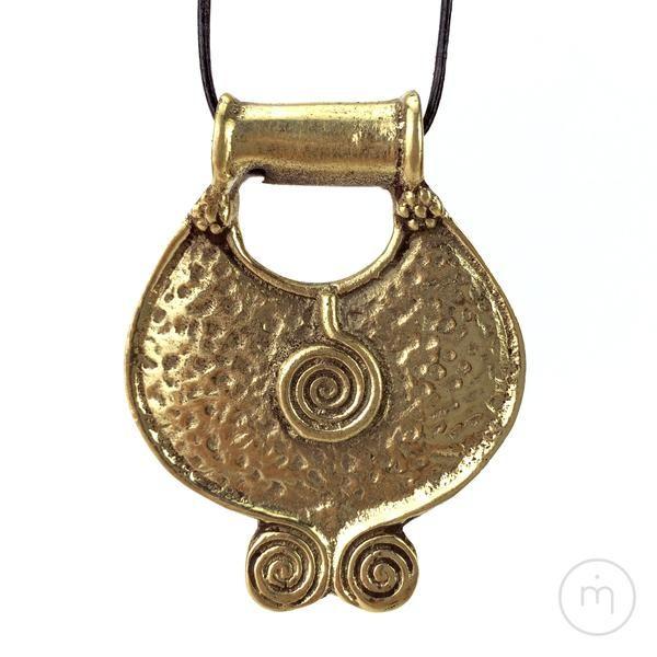 Fairtrade Nepalese 3 Spirals / Elements / Trinity Brass Pendant - front