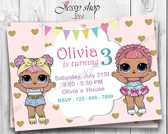 LOL Surprise Birthday Invitation, LOL Surprise Doll Birthday Invitation, LOL Sur… – Suprise birthday