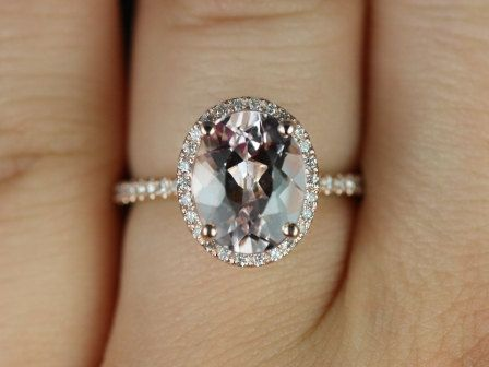 Jessica Original Size 14kt Rose Gold Thin Oval Morganite Halo Engagement Ring (Other metals and stone options available). $1,400.00, via Etsy.