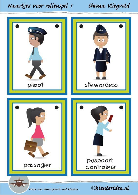 Kaarten voor rollenspel 1 in de hoeken bij thema vliegveld voor kleuters, juf Petra van kleuteridee, free printable.