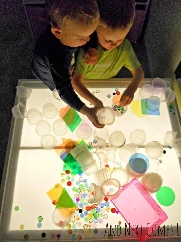 Exploring loose parts on the light table from And Next Comes L