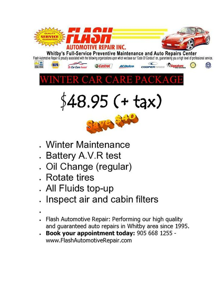 NOVEMBER SPECIAL!! Visit Flash Automotive Repair for the $48.95 +tax Winter Special - Get Your Car Winter Ready  NOW is the time when you should make sure your car is in top condition ready for the winter months to come. Book your appointment today: 905 668 1255 - 401 Dunlop St E, Whitby, ON, L1N 1S6. #CarCare #OilChange #SHARE #BatteryAVRTest #TireRotation #FluidTopup #AirAndCabinFilterInspection #WinterMaintenance