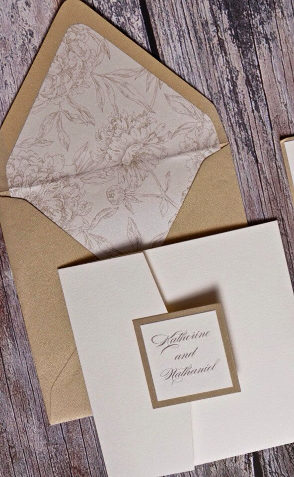 Cream pocketfold Invitation with gold envelope and accents (SAMPLE) by UptownDesignsCanada on Etsy