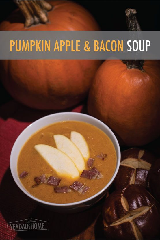 Made this tasty soup tonight. I know, it's February. We had extra pumpkin. Also it pairs well with beer and pretzel rolls.   Pumpkin Soup Recipe with Apple and Bacon - yeadadshome.com