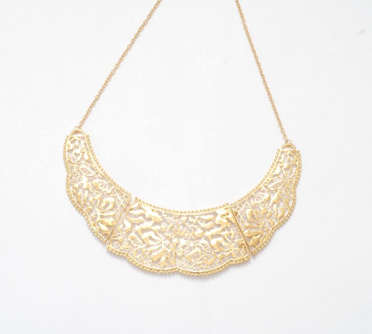 Gold Filigree Statement Necklace, Golden Bib Necklace, Gold Collar Necklace Jewelry on Luulla