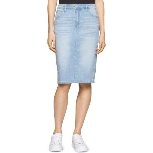Calvin Klein Jeans Bardot Blue Essential Jean Pencil Skirt - Women's ($52) ❤…