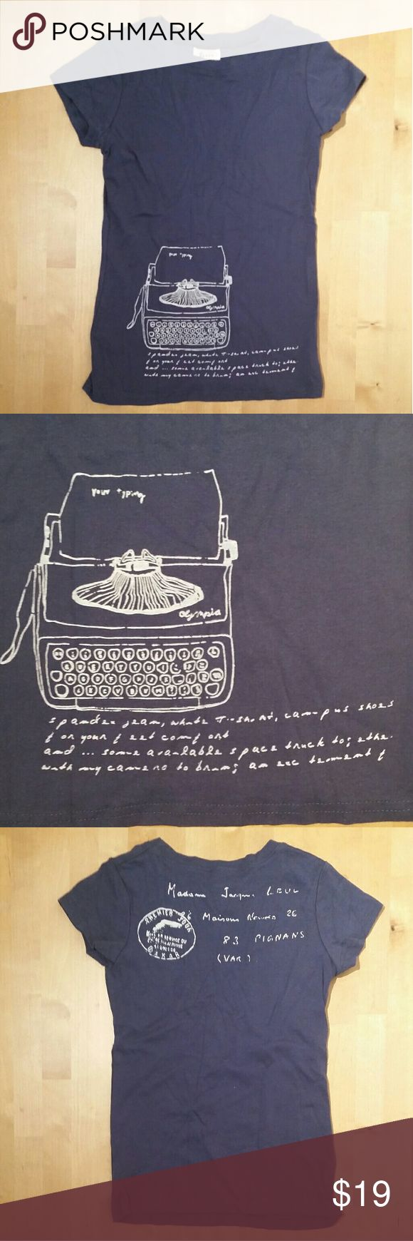 Typewriter tee from Korea Unique women's tee from Korea. Dark blue with white screen print of typewriter sketch and handwritting brand is Design by Korea. Fitted style. EUC  14.5 inches flat across chest 22 inches length shoulder to hem Tops Tees - Short Sleeve