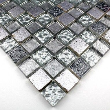 Id e pour la douche carrelage mosaique verre et pierre 1 plaque metallic argent archi salle for Plaque pour carrelage