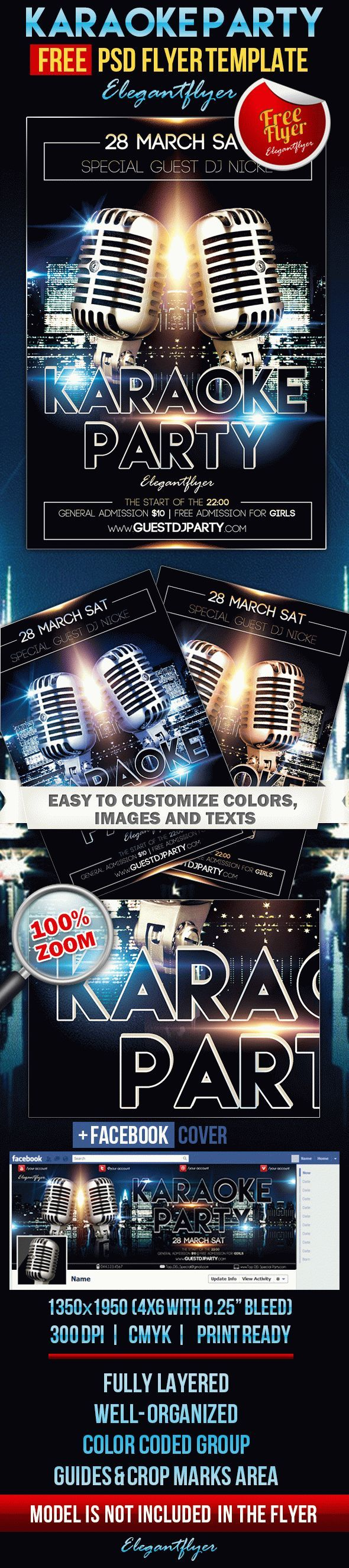 Karaoke Party – Free Flyer PSD Template + Facebook Cover