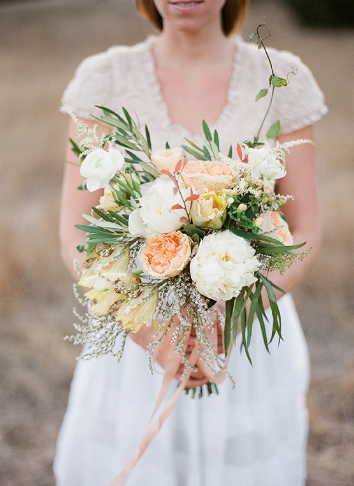Wedding Bouquets With Lots Of Greenery : Lovely and whimsical bouquet of peonies garden roses