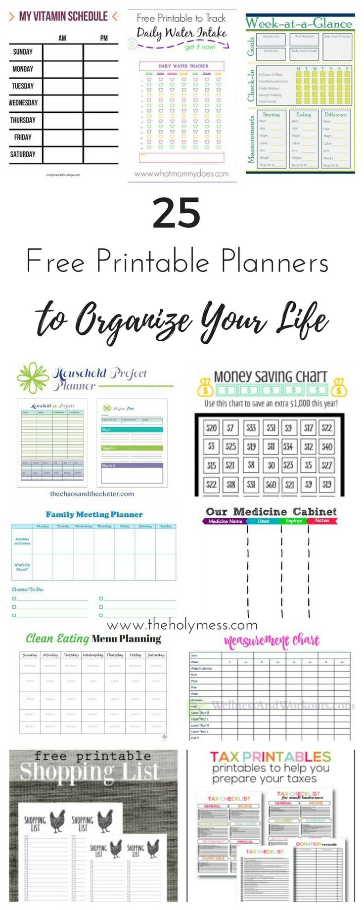 Use these 25 free printable planners to organize your life for budgeting, clean eating, household tasks, parenting, fitness, and more.