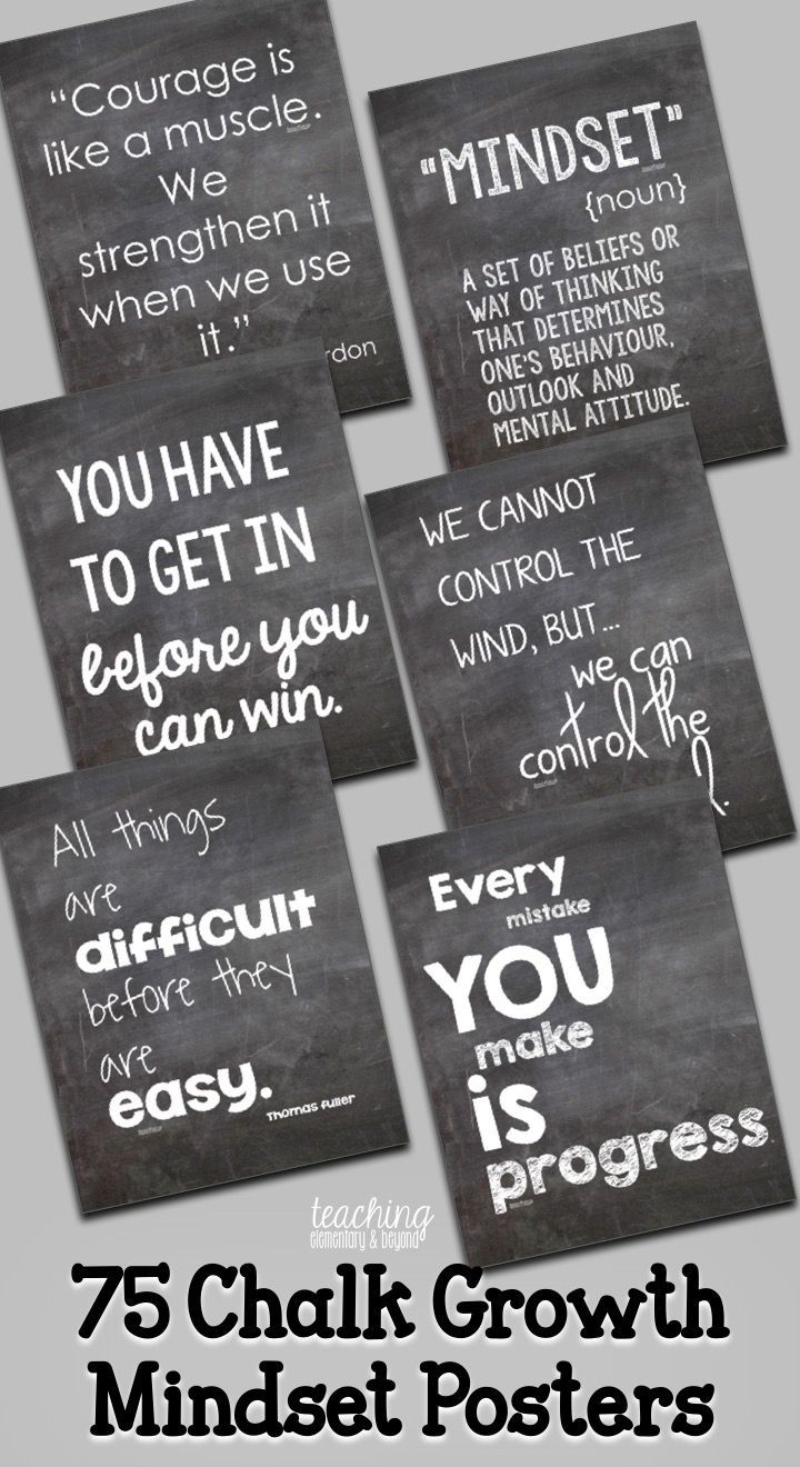 Teachers! Provide inspiration for for your kids! These chalk growth mindset posters are full of quotes to help motivate and change the perspective of your students! These will look great on your bulletin boards in your classroom and can help your students develop great life skills for learning.