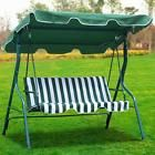 Green 3 Person Steel Outdoor Patio Swing Canopy Awning Yard Furniture Hammock US