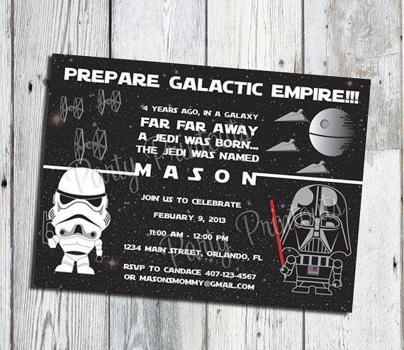 Star Wars Birthday Invitation: Printable Boy or Girl Custom Invite with Darth Vader,  Matching Party Printables, other Invitations Available on Etsy, $15.22 AUD