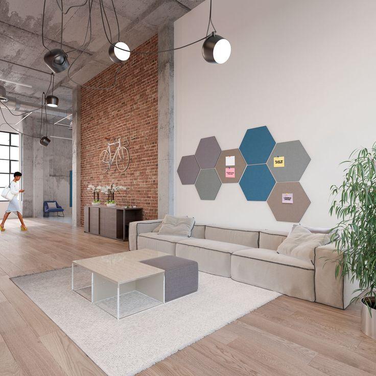 Design prikborden voor thuis of op kantoor. Functioneel en mooi! #pinboard #hexagon #design #interiordesign #inspiration #office #officedesign