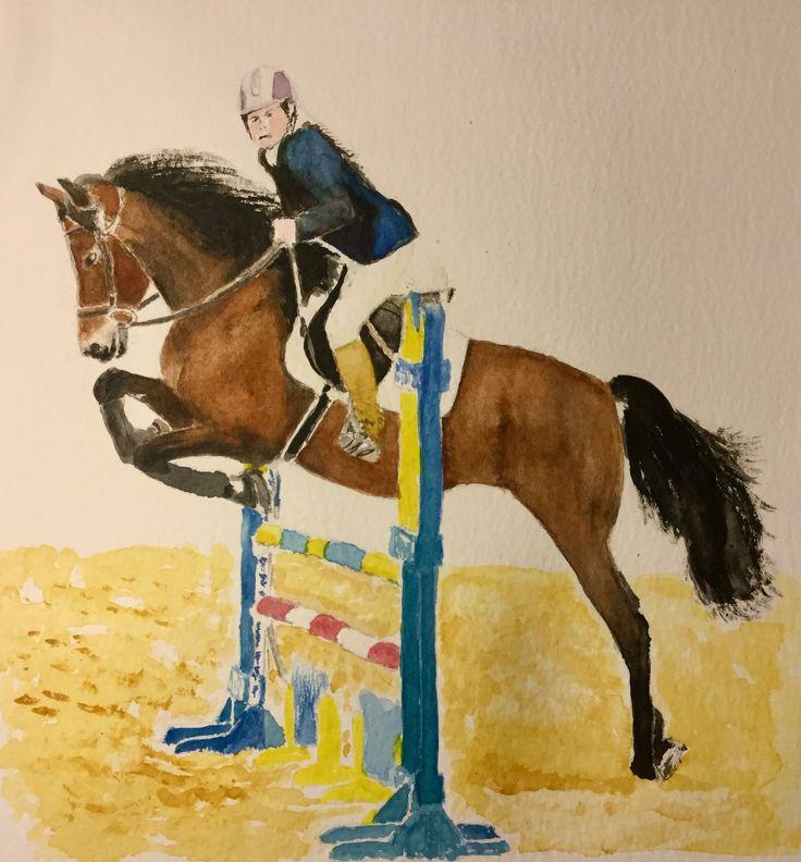 #art #watercolour #horse n rider