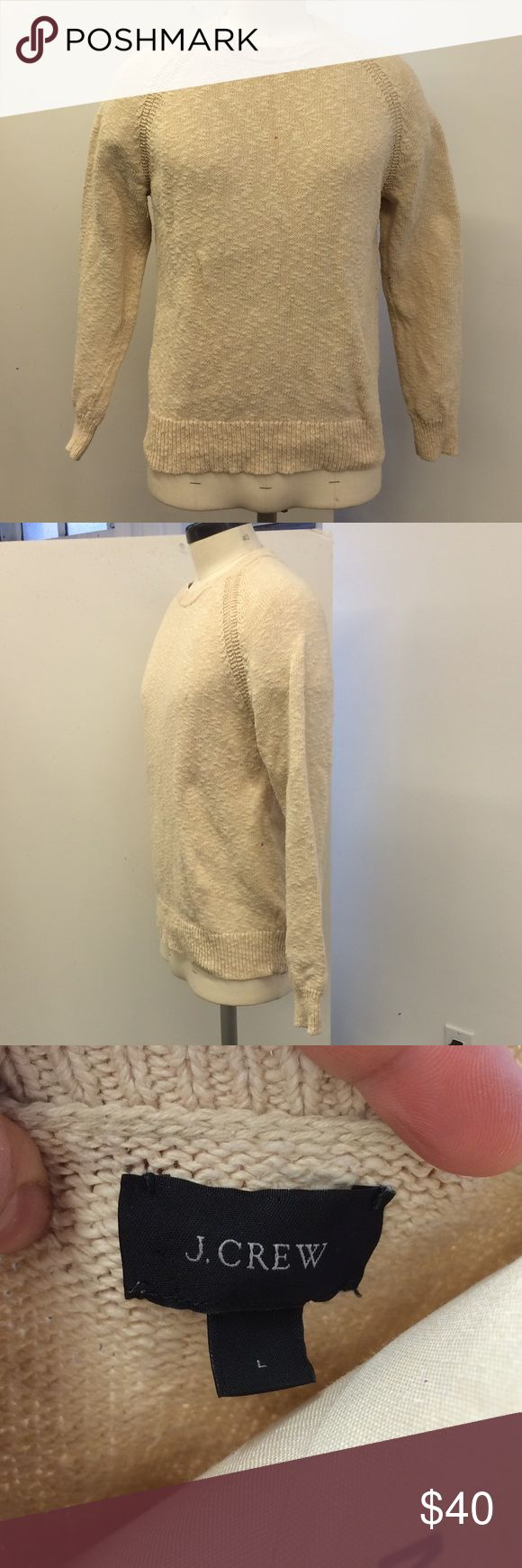 J.Crew | Men's cream knit sweater | Men's L This is a great men's J.Crew cream knit sweater. It's definitely unisex - pair it with jeans and a button up for a classic look, or leggings and Hunter boots for Sunday brunch. Size Men's L, but can comfortably fit up to XL or XXL for females. 100% cotton.  🍎 ships from nyc 💯 all products authentic 🚫 smoke free home ❤️ thank you :) J. Crew Sweaters Crewneck