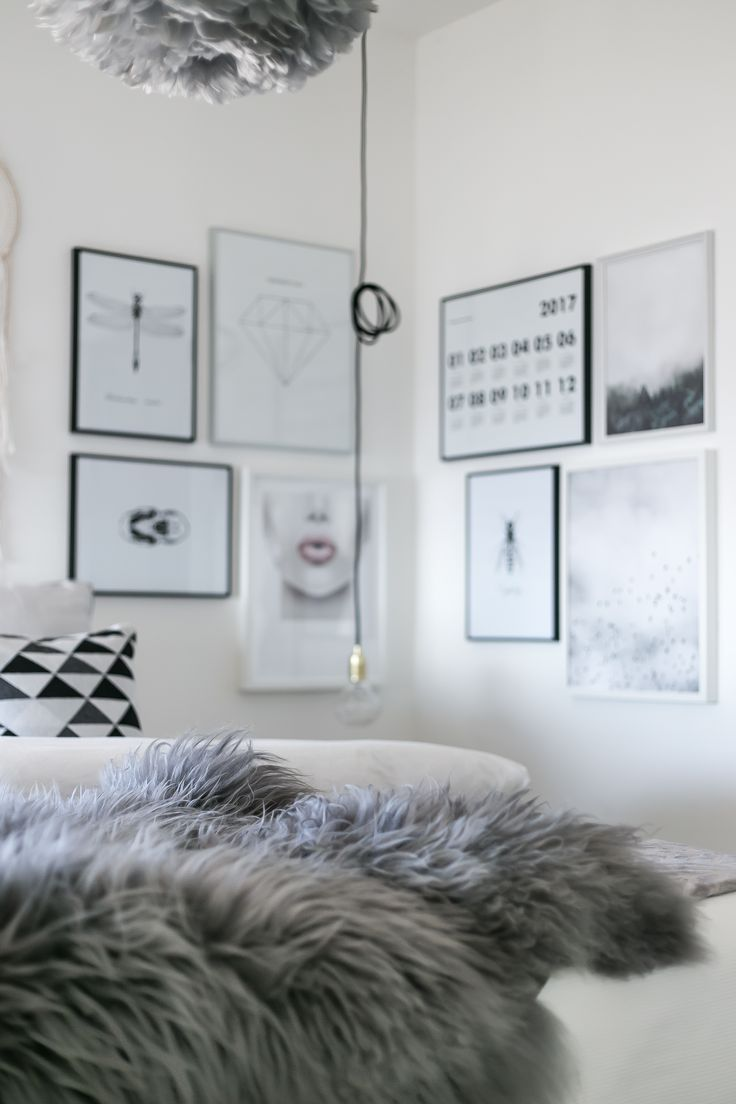 My bedroom with a sheepskin in focus.