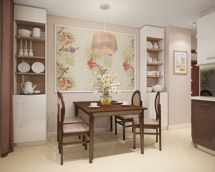По обе стороны от стола стоят узкие открытые стеллажи для посуды. Декор стены обоями с цветочным узором в молдинге.
