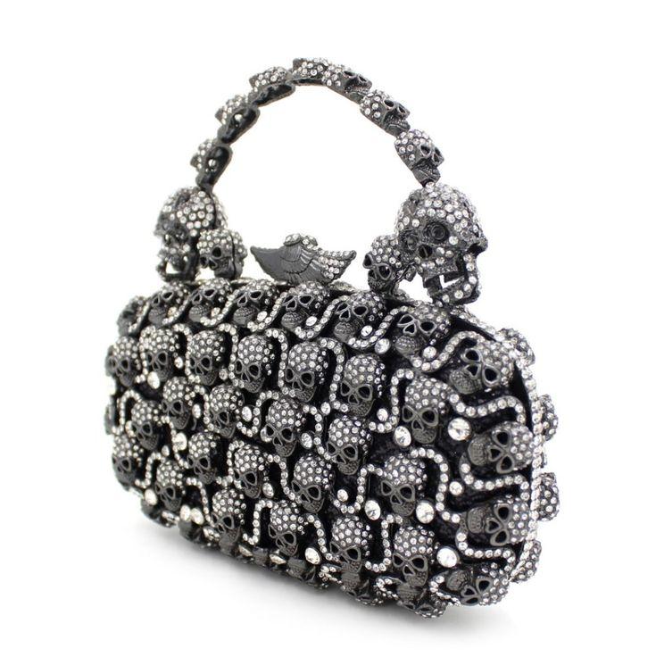 Metal Handle Crystal Evening Bags Halloween Gifts Skull Clutch Bags Black Originality Evening Party Bags Prom Handbag