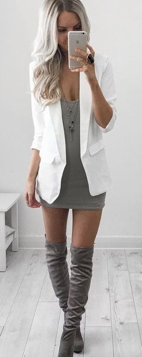 #summer #style |White Blazer on Gray Litle Dress