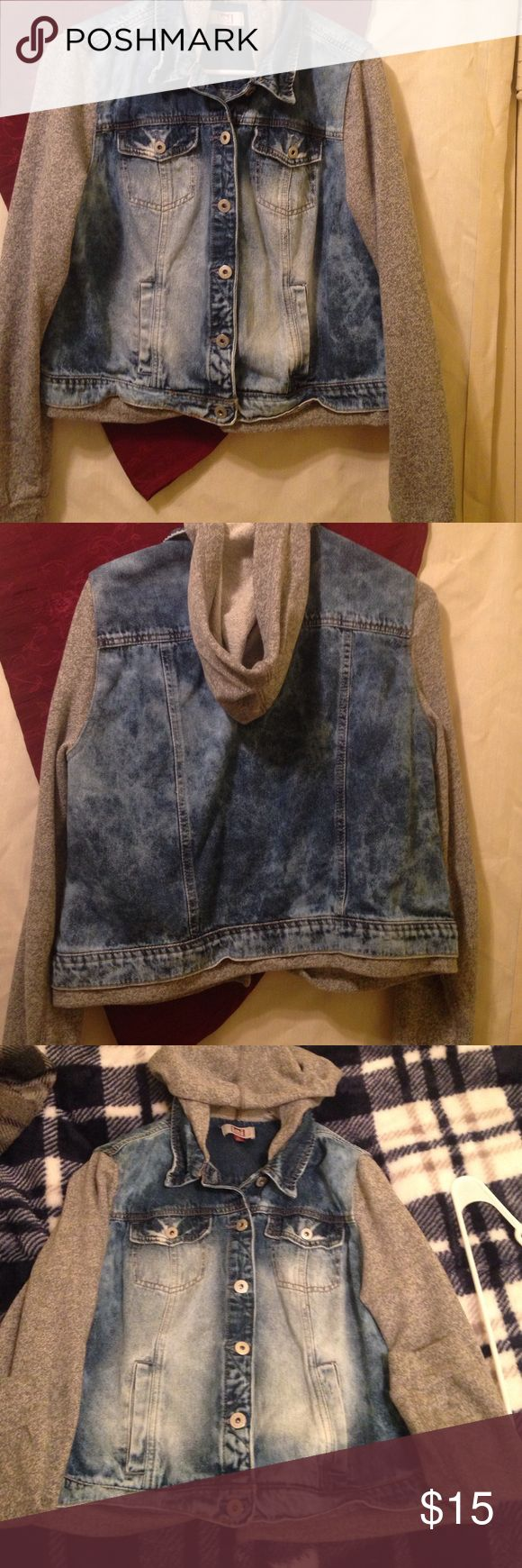 Lei Sweatshirt jean jacket combo. Brand new never wore. Size XL in juniors lei Tops Sweatshirts & Hoodies