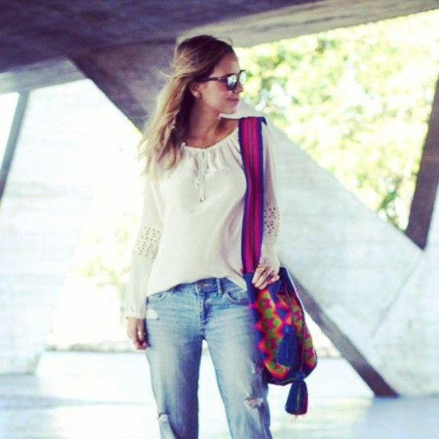 How she wore it: #multicolored #wayuu #mochila, white top #boyfriendjeans #summeritbag #Colombianmade