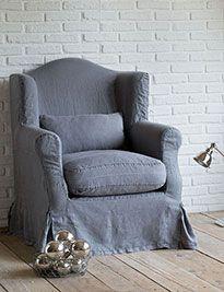 Poltrona grande lino stone wash grigio