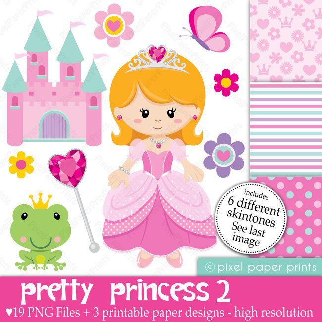 Pretty Princess II 6 colors - Digital paper and clip art set. $5.00, via Etsy.