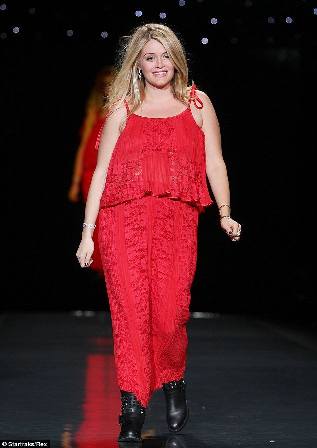 Bump in tow: Daphne Oz, 27, walked the runway at New York Fashion Week on Thursday
