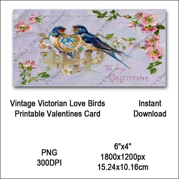 Vintage Love Birds Valentines Card Victorian Printable Blue Bird Animal Clipart Card Instant Download Digital Clip Art Image Vin0021