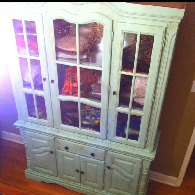 Repurposed China Cabinet. Painted, stained, design art on contact ...
