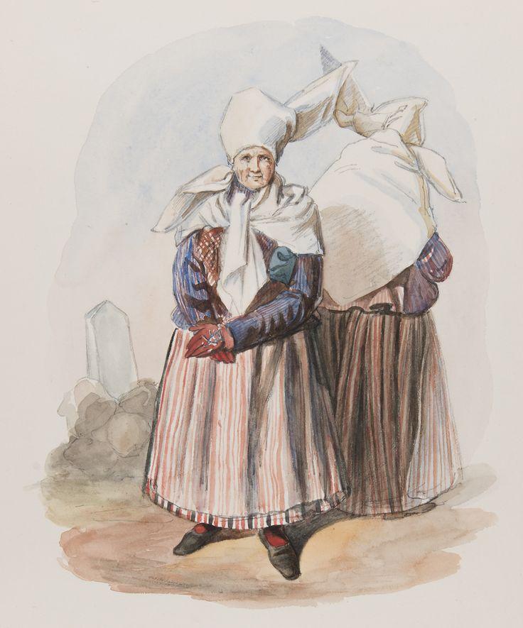 Dräkt. Kvinna fram och bak. Östergörland, Finspång, Skedevi. Akvarell i storformat av J.W Wallnder @ DigitaltMuseum.se