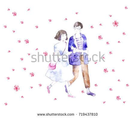 Cute girl and boy together. Valentine's Day. Love card.  @knyshksenya #illustration #illustrator #ksenyaknysh #watercolor #girl #flowers #nature #illustration #art #mothersday #valentine #love #boyandgirl #romantic