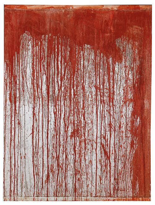 Hermann Nitsch - Action Painting, 1998. Blood, dispersion on jute, on wooden frame, 200 x 150 cm