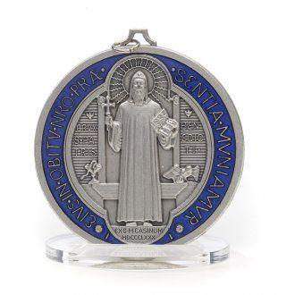 Medaglia San Benedetto zama argentato smaltato varie misure | vendita online su…
