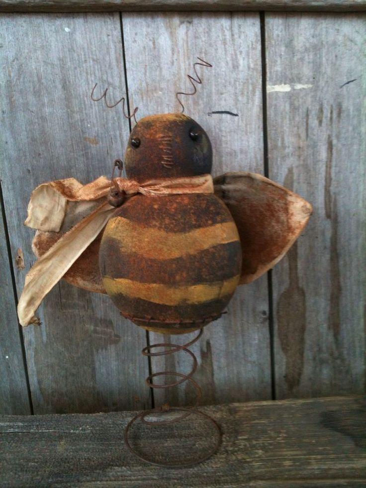 Primitive folk art Homey Bee make do doll On Rusty Ol Spring Round Body Cute
