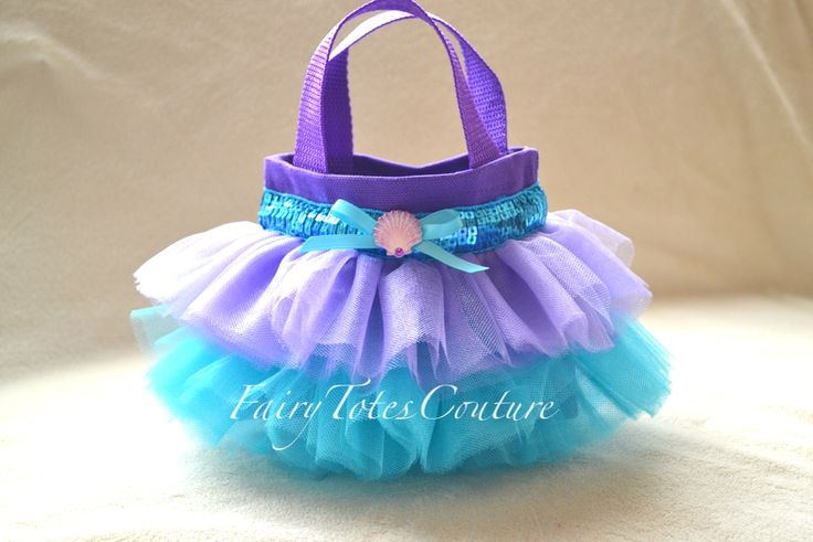 Little Mermaid Inspired Tutu Tote - Mini Tutu Tote - Princess Gift Bag - Little Mermaid Party Favor