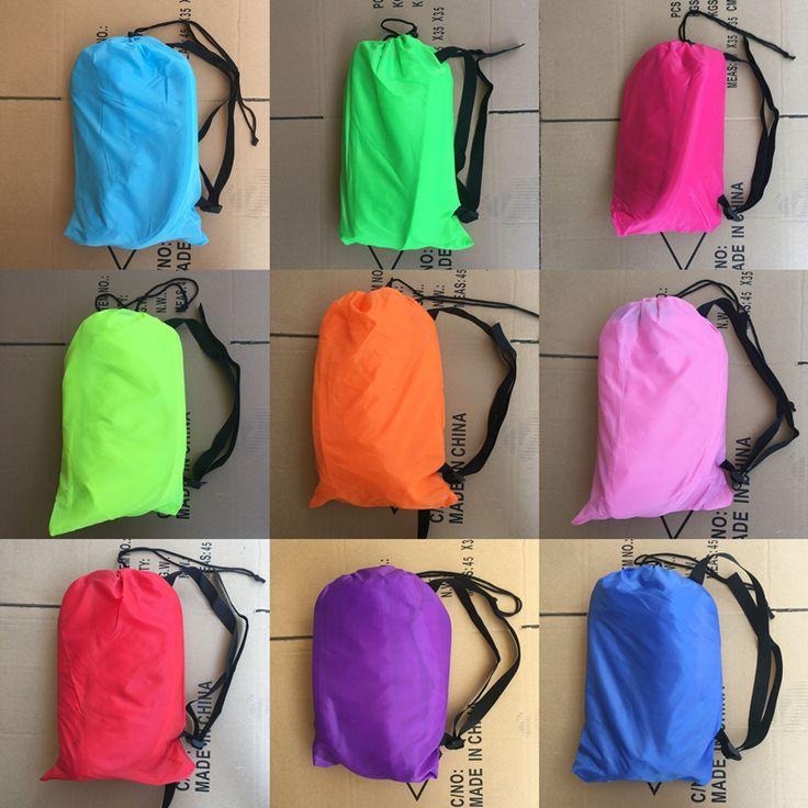 JISHI 240*75cm Inflatable Lazy Bag Air Sofa 190T Nylon Laybag Air Sleeping Bag Camping Portable Beach Bed Lazy Bag Air Lounger