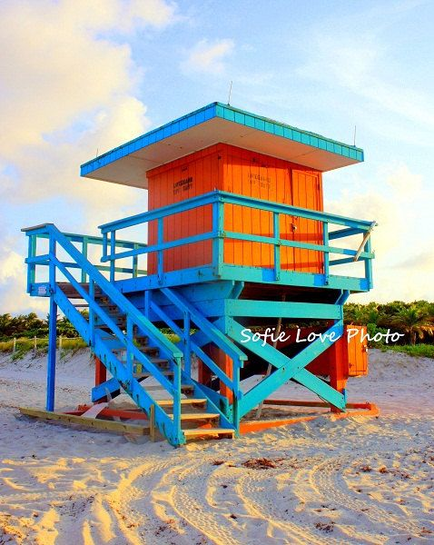Orange and Blue Lifeguard house Miami Beach FL