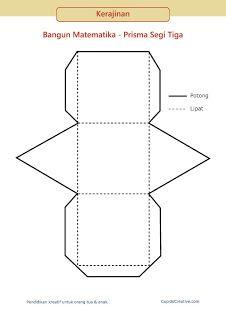 gunting tempel geometri 3d untuk SD, model bangun matematika prisma segi tiga